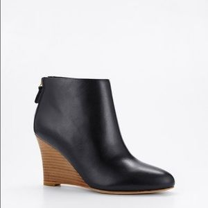 Anne Taylor Leona Wedge Bootie Black Leather